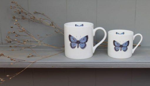 Holly Blue bone china mugs