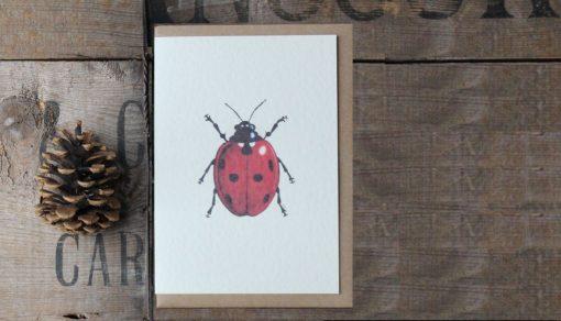 Ladybird A6 greetings card with Kraft envelope