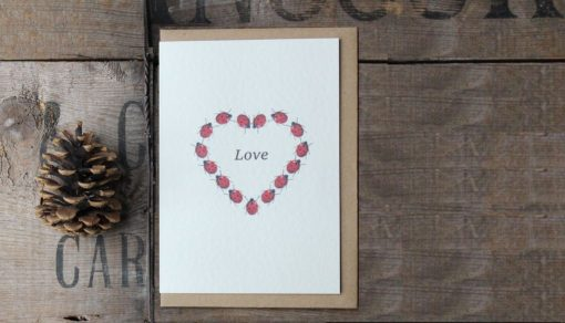 Ladybird Hearts A6 greetings card with Kraft envelope
