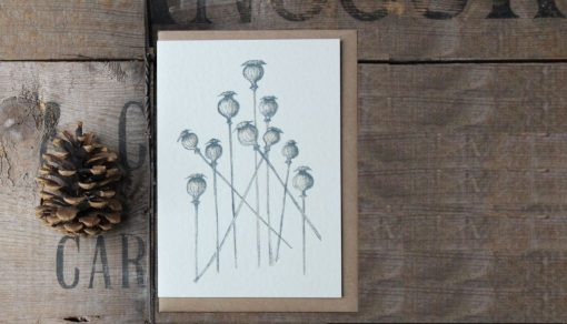 Poppy Heads A6 greetings card with Kraft envelope