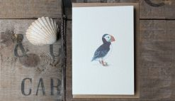 Puffin A6 greetings card with Kraft envelope