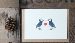 Puffins Heart A6 greetings card with Kraft envelope