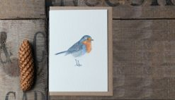 Robin A6 greetings card with Kraft envelope