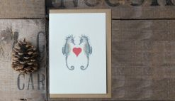 Seahorses Heart A6 greetings card with Kraft envelope