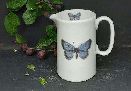 Holly Blue bone china jugs