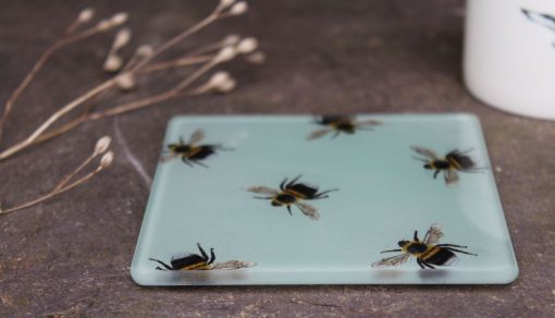 Bee recycled glass coasters