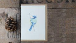 Blue Bird A6 greetings card with Kraft envelope