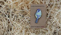 Blue Bird wooden brooch sustainable present