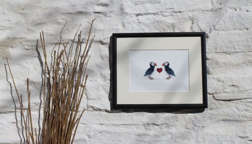 Puffins Heart Collectors Edition large framed botanic art print
