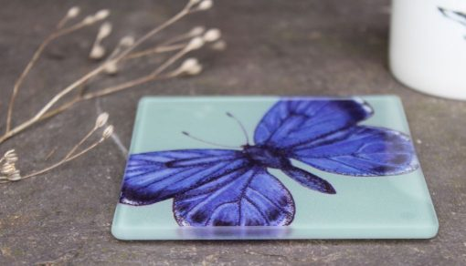 Holly Blue recycled glass coasters