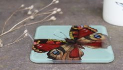 Peacock Butterfly Recycled Glass Coasters