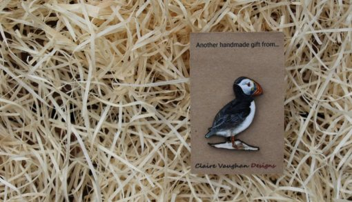 Puffin wooden brooch sustainable present
