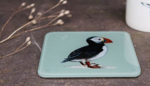 Puffin recycled glass coasters