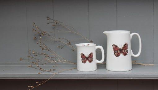 Peacock Butterfly bone china jugs
