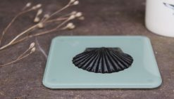 Scallop Shell recycled glass coasters