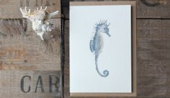 Seahorse A6 greetings card with Kraft envelope