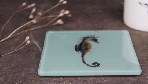 Seahorse recycled glass coasters