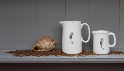 Seahorse bone china jugs