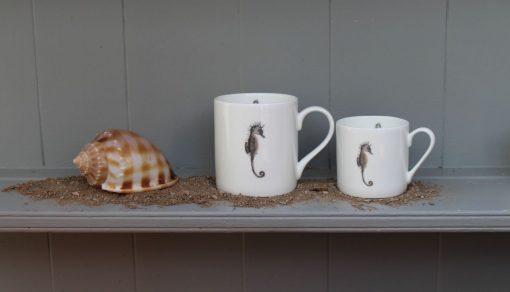 Seahorse bone china mugs