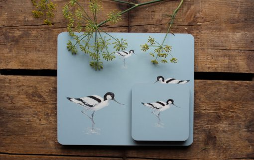 Avocet placemat and matching coaster