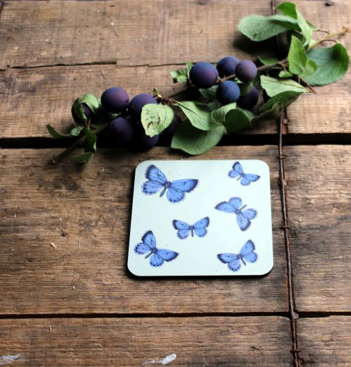 Holly Blue melamine coasters