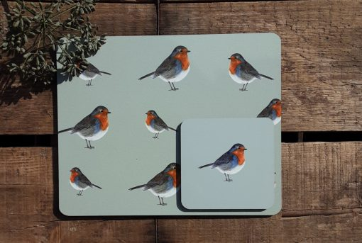 Robins matching placemat and coaster set