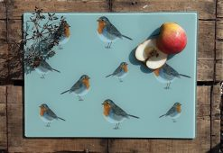 Robin glass chopping board with sliced fruit
