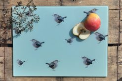 Wren glass chopping board with sliced fruit