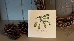 Christmas card mistletoe sprig Yule